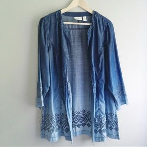 Chico's Chambray Open Ombré Embroidered Jacket